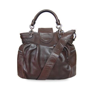 silversmith ganchini logo patent tote bag brown